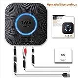 [Upgraded] 1Mii Receptor Bluetooth 5.0, Adaptador Audio Bluetooth Hi-Fi para Altavoz con AUX 3.5 mm Jack/RCA, Receptor de Audio Inalámbrico con 3D Surround AptX LL para Estéreo Hogar, Largo Alcance