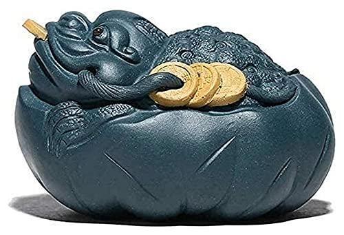 mimiliy Chinesische Statue, Ornament Tee Haustier Zisha Money Frog Figurine Statue Feng Shui Figur Statue Skulptur Kunstwerk Tee Tablett Home Desktop Dekoration Geschenk (Color : A)