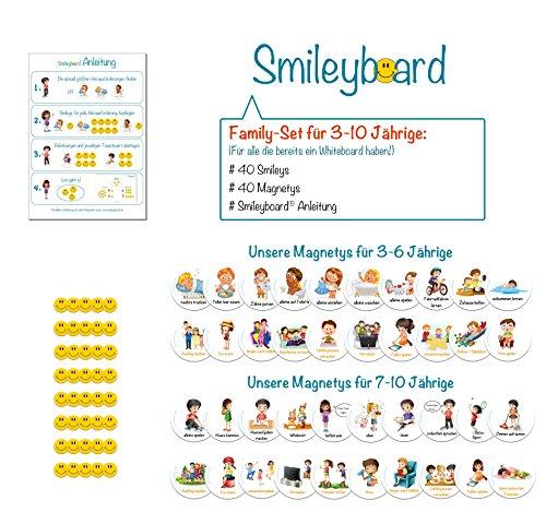 SMILEYBOARD - Family-Set Magnete - 40 x Smiley-Magnete - 40 x Aufgaben- und Belohnungsmagnete - verschiedene Motive