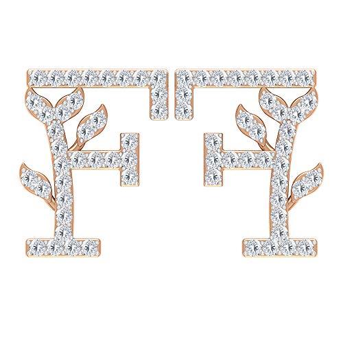 Pendientes iniciales antiguos, pendientes de letra del alfabeto F, HI-SI 1/4 CT diamante pendientes de tuerca, pendientes florales, pendientes personalizados, regalo de aniversario 18K Oro rosa, Par