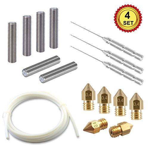 3D Printer Tool Kit, 6pcs Extruder 30mm M6 Tube + 6pcs 0.4mm MK8 Brass Extruder Print Head + 3pcs Cleaning Tool Kit + 2M PTFE Tube, Premium 3D Printer Parts and Accessories