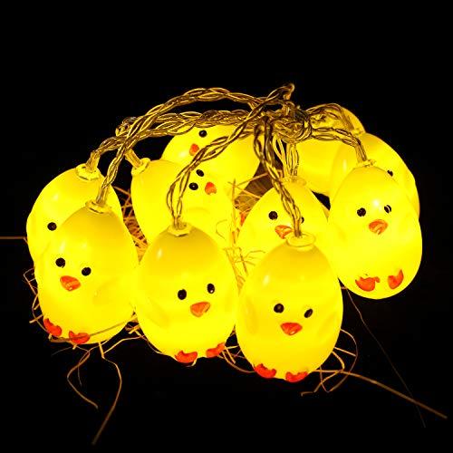 Herefun Cadena de Luces LED, 1.5M 10 Luces LED para Pascua Pollito de Pascua, Decoración para Pascua Fiesta de Cumpleaños Patio Hogar Jardín