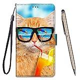 TOUCASA Kompatibel mit Nokia 5.1 Plus/X5 Hülle, Handyhülle für Nokia 5.1 Plus/X5,Brieftasche PU Leder Flip [Kreativ Gemalt] Hülle Handytasche Klapphülle für Nokia 5.1 Plus/X5 (Katze Trinken)