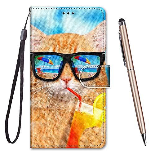 TOUCASA für iPhone 6S Hülle, Handyhülle für iPhone 6,Premium Brieftasche PU Leder Flip [Kreativ Gemalt] Case Handytasche Klapphülle für Apple iPhone 6S / iPhone 6 (4,7 Zoll),Katze Trinken