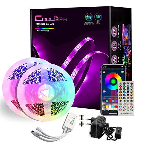 10M Tira LED, COOLAPA Tiras LED RGB 5050 12V con 300 LEDs, I