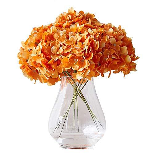 QINGBAO Flores artificiales de hortensias para rubor, 10 flores de seda de hortensias falsas para centros de mesa de boda, ramos de mesa, decoración floral para el hogar con tallos (naranja)