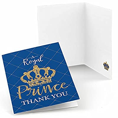 Royal Prince Charming - Baby Shower or Birthday Party Thank You Cards (8 count) by Big Dot of Happiness, LLC