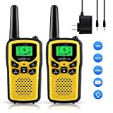 Professional Rechargeable Walkie Talkies,MOICO Long Range Two Way Radios for Adults up to 5 Miles in Open Area,Handheld Talkies Talky with 22 Channels FRS/GMRS VOX Scan LED Flashlight Yellow