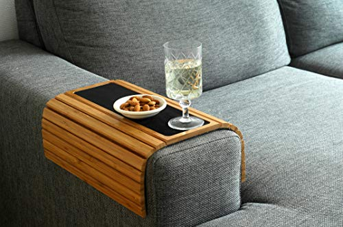 Bamboo Sofa Tray Table with Anti-Slip for all Armrests. Natural Colour Fits Any Interiors.