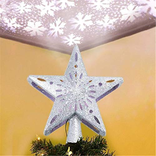 KEAIDO LED Christmas Tree Star Topper with Projector, Magic Lighting 3D Snowflake Effects Rotating Glitter Christmas Tree Seasonal Decorations (Silver Star)