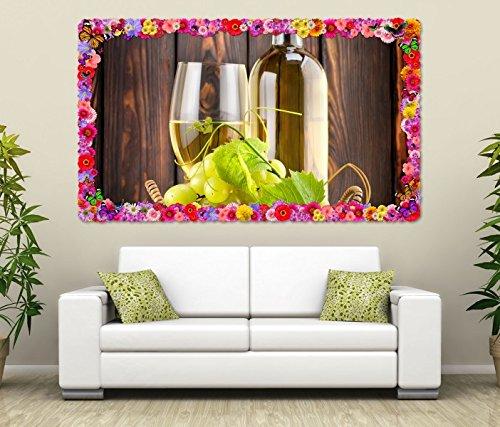 3D Muurtattoo Wijn witte wijn glas fles druiven bloemen frame muurschildering tattoo woonkamer muur sticker 11L1446, muurschildering grootte F: ca. 162cmx97cm