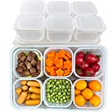 TeTeBak Food Storage Containers with Lids Airtight - 6PCS Removable Individual BPA-Free Plastic Food Containers for Pantry Organization and Storage, Stackable Meal Prep Containers Reusable