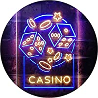 Casino Dice Game Man Cave Dual Color LED看板 ネオンプレート サイン 標識 青色 + 黄色 210 x 300mm st6s23-i2785-by