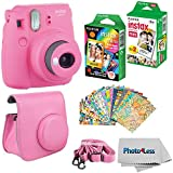 Fujifilm Instax mini 9 Instant Film Camera Flamingo Pink - Fujifilm Instax Mini Instant Film, Twin Pack - Fujifilm Instax Mini Rainbow Film - Case for Fuji Mini Camera – Fuji Instax Accessory Bundle