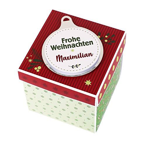 Herz & Heim® Weihnachts-Überraschungsbox mit Namensaufdruck - Handgefertigt in Deutschland - tolle Idee für EIN Geldgeschenk zum Fest Weihnachtsbaum