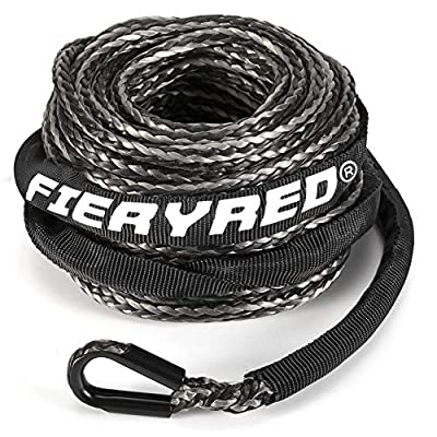 """Synthetic Winch Rope 3/16"""" x 50' - 8200 Ibs Winch Line Cable Rope with Protective Sleeve for 4WD Off Road Vehicle ATV UTV SUV Motorcycle,"""
