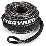 FIERYRED Synthetic Winch Rope 3/16' x 50' - 8200 Ibs Winch Line Cable Rope with Protective Sleeve for 4WD Off Road Vehicle ATV UTV SUV Motorcycle