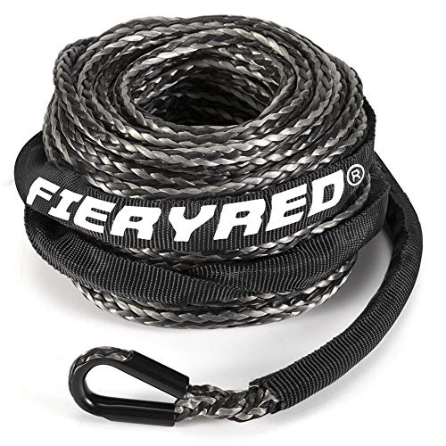 Synthetic Winch Rope 3/16' x 50' - 8200 Ibs Winch Line Cable Rope with Protective Sleeve for 4WD Off Road Vehicle ATV UTV SUV Motorcycle,