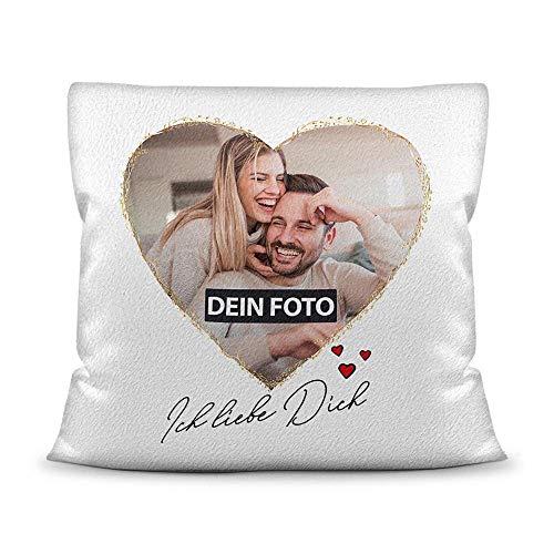 Print Royal Fotokissen inkl. Füllung mit Spruch - Ich Liebe Dich - zum Selbst Gestalten mit Wunschfoto im Herz für Verliebte - Kissen Polyester - Weiß flauschig, 40 x 40 cm