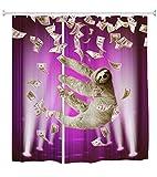 QIYI Duschvorhang Mehltau beständig,Antibakteriell,Kein chemischer Geruch,seidiges 100prozent Polyester-Gewebe,mühelosabspülen & für Badezimmer hängen 180cm X 180cm-sloth 3