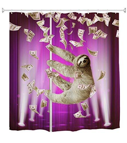 QIYI Duschvorhang Mehltau widerstandsfähig,Antibakteriell,Kein chemischer Geruch,seidiges 100prozent Polyester-Gewebe,mühelosabspülen & für Badezimmer hängen 150cmX 180cm-sloth 3