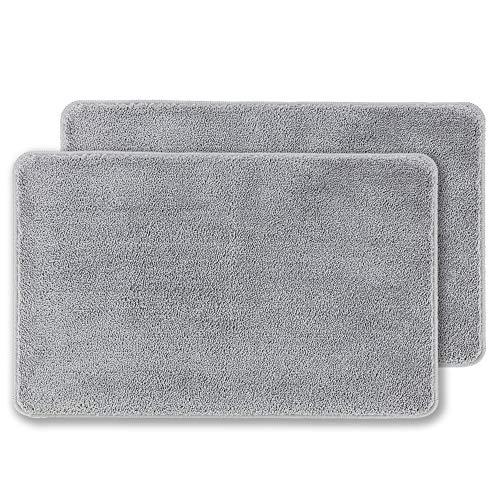 "2 Pack Indoor Doormat Front Door Mat Non Slip Rubber Backing Super Absorbent Mud and Snow Magic Dirts Trapper Mats Entrance Door Rug Shoes Mat Machine Washable Carpet - Grey, 20"" x 32"""