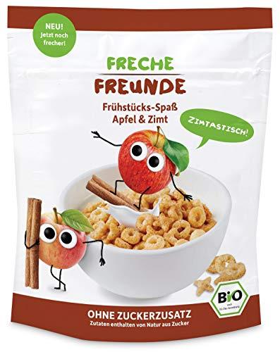 FRECHE FREUNDE Bio Frühstücks-Spaß Apfel & Zimt, ohne Zuckerzusatz, Bio Corn-Flakes ohne Zusatzstoffe für Kinder & Babys ab 1 Jah, 6er Pack (6 x 125 g)