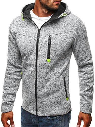 style_dress Sweatshirt Herren Sweatshirts Hoodie Zipper Kapuzen-Sweatshirt Pullover Mantel Jacke Langarm Outwear Bekleidung Bluse Tops (Grau, L)