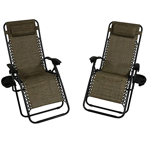 Sunnydaze Outdoor XL Zero Gravity Lounge Chair with Pillow and Cup Holder, Folding Patio Lawn Recliner, Dark Brown, Set of 2