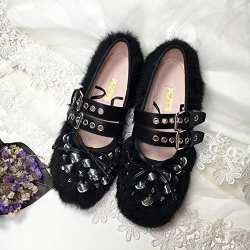 ZHAOXIANGXIANG Rivet à Tête Ronde Chaussures Seul Seul Bean Nouveau Ballet Chaussures d'hiver pour Femmes Bracelet