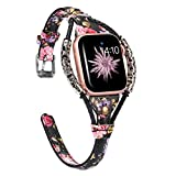 Wearlizer Leather Compatible with Apple Watch Bands 38mm 40mm for iWatch SE Womens Handmade Twist Strip Floral Strap with Bronze Rivet Wristband Bracelet (Silver Clasp) Series 6 5 4 3 2 1-Black Pink
