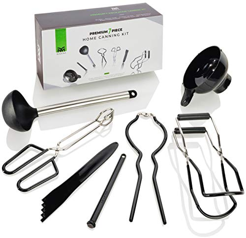 Premium Canning Kit | 7-Piece Stainless Steel Canner Set includes Essential Tools: Ladle, Canning Funnel, Jar Lifter, Bubble Remover, Kitchen Tongs, Jar Wrench