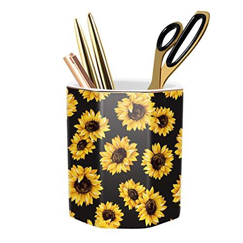 WAVEYU Pen Holder, Pencil Holder for Desk Floral Pattern Pencil Cup for Girls Kids Durable Ceramic Desk Organizer Makeup Brush Holder Ideal Gift for Office, Classroom, Home, Sunflower