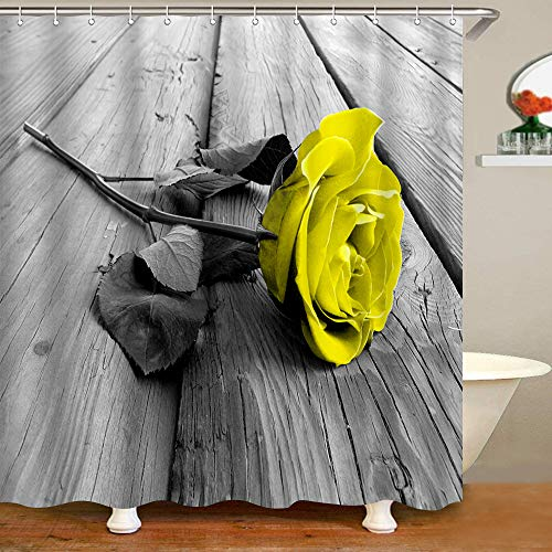Vintage Grey Shower Curtain Romantic Yellow Rose Floral Polyester Waterproof Fabric Bathroom Accessories