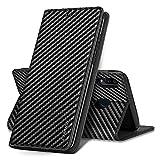 LAPOPNUT Handyhülle für Huawei Mate 10 Lite Hülle Brieftasche Flip Hülle Premium PU Leder Klapphülle mit Kartenhalter Standfunktion Lederhülle Schutzhülle für Huawei Mate 10 Lite Schwarz Kohlefaser