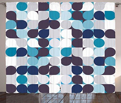 Cortinas By ambesonne, formas geométricas con efectos de cultura tradicional Azteca Tribal Print abstracto, para salón o recámara ventana Cortinas 2Panel Set, gris perla, color rosa claro, Multi 8, 1