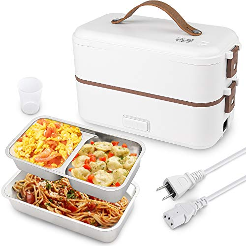 Self Cooking Electric Lunch Box, Toursion Mini Rice Cooker, 2 Layers Steamer Lunch Box for Home Office School Travel Cook Raw Food, 800ML/110V (ONLY THE WALL PLUG) (White)