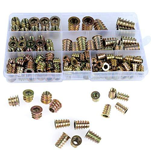 QLOUNI 130 Stücke Einschraubmuffen Eindrehmuffe mit Abdeckrand Zink-legierung Gewindeeinsatz Muttern Sortiment M4 M5 M6 M8 M10 Muttern Sortiment für Holz Möbel