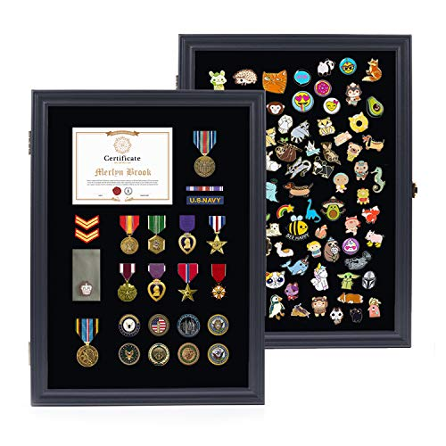 Pin Display Case Wall Frame Cabinet Pin Collector Display Case with UV...