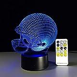 Football Helm 3D Illusionslampe Drei Muster und 7 Farbwechsel Dekor Lampe - Perfekte Geschenke für Kinder