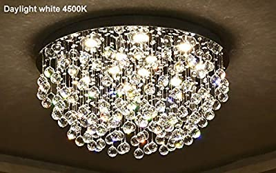 Saint Mossi Modern K9 Crystal Chandelier Lighting Flush Mount LED Ceiling Light Fixture Pendant Chandelier for Livingroom 12 GU10 Bulbs Required Width 28 inch x Height 16 inch