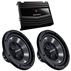 cheap Two subwoofers Kenwood KFC-W112S, 12 inch, 800 W + 2 channel 400 W amplifier (package contents)