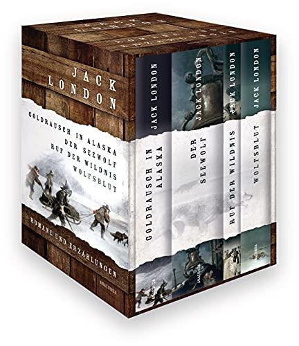 Jack London, Romane und Erzählungen (Goldrausch in Alaska - Der Seewolf - Ruf der Wildnis - Wolfsblut) (4 Bände im Schuber)