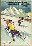 "Wall Calendar 2021 [12 pages 8""x11""] Chamonix Ski Resort Vintage European Travel Poster Ads"