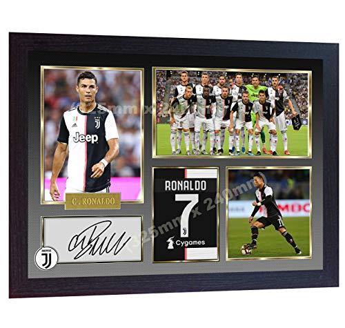 S&E DESING Foto Cristiano Ronaldo Juventus, signiert, mit Rahmen, ca. 33 x 25 cm