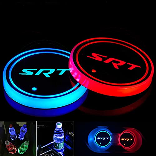 2pcs LED Cup Holder Lights for SRT Dodge Charger Challenger Grand Cherokee Chrysler, LED Car Coasterss with 7 Colors Luminescent Light Cup Pad, USB Charging Cup Mat Accessories(forSRT)