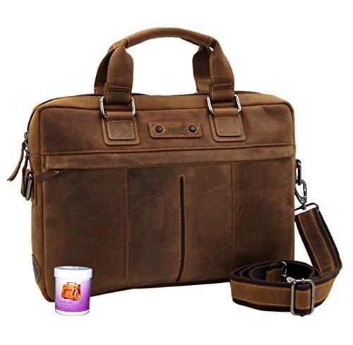 LandLeder Tasche - Aktentasche MARES aus braunem ECO Leder inkl. kostenfreier Lederpflege - Handmade