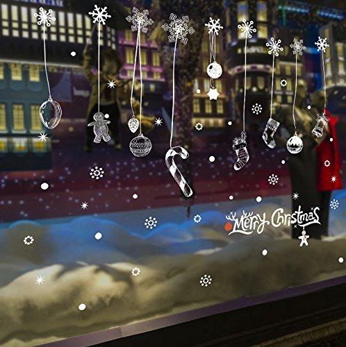 HCCY Kerst decoraties sneeuwvlok Nieuwjaar Bloem Winkels Sluiten Venster Bedrijf Restaurant glas in lood raam muur posters sticker Deur Decal