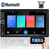 Camecho Double Din Car Stereo 7'' Touch Screen Car Radio with Bluetooth Apple Carplay FM Radio Receiver Support TF/USB/Aux Port+Rear View Camera