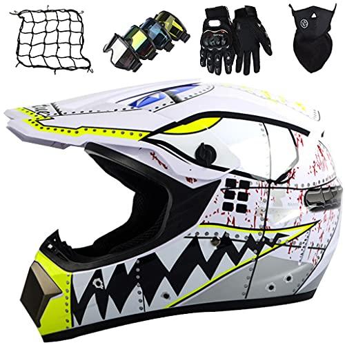 Casco Integral de Motocross Niños, Conjunto de Casco Cruzado para Motociclista Juvenil Casco de Protección para Moto para Niños para MTB Downhill Dirt Bike MX Quad ATV - Tiburón Blanco
